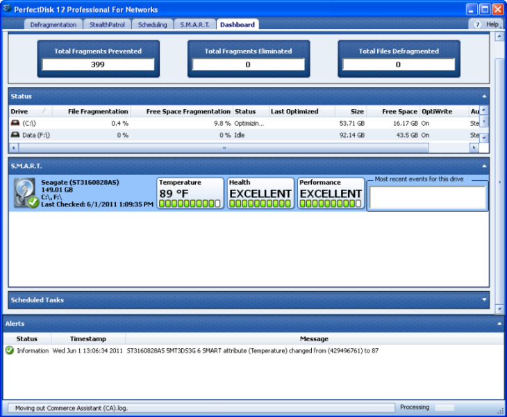 PerfectDisk Professional screenshot: defragmentation, windows optimization, windows performance, defrag, defragment, defragmenter, disk defragmentation, perfectdisk, perfect disk, disk management, defragger, disk utilities